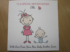 Personalised Handmade New Big Sister, New Baby Brother Card