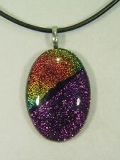 "BUTW Gorgeous Dichroic Glass 46.8mm 2Tone Oval Pendant 16-18"" Leather Cord 8707D"