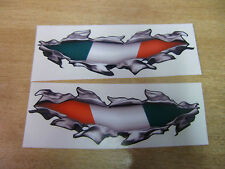 """Torn / Ripped Paintwork """"Italian Flag"""" stickers - 400mm decal pair LARGE"""