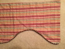 """Set of 2 RLF Home Plaid Lined Valances, 76"""" x 16 1/2"""" w Cord Piping red & yellow"""