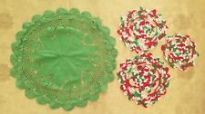 Vintage Doily Christmas Crochet Center Piece Green Red Decorations Lot A43