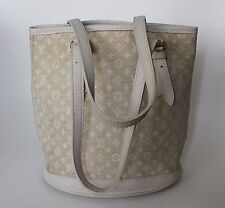 Louis Vuitton Bucket PM White Dune Mini Lin Monogram Canvas Shoulder Bag $1,520