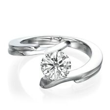 0.70 CT Real Enhanced Round Cut Diamond Engagement Ring 14K White Gold F/SI1