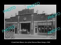 OLD POSTCARD SIZE PHOTO OF CRYSTAL LAKE ILLINOIS THE STUDEBAKER GARAGE c1940 1