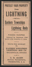 1927 Canadian Eastern Townships print ad Lightning Rods