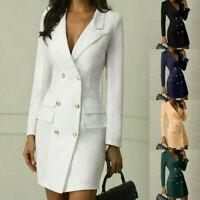 Womens Long Sleeve V-Neck Bodycon Blazer Dress Office Work Business Formal Dress