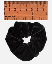 Black Velvet Hair Scrunchie Band Loop Tie Donut - Large Bobble Womens / Girls