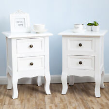 Set Of 2 White Bedside Table Nightstand End Table 2 Drawers Storage Home  Bedroom