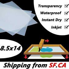 """8.5"""" x 14"""",100 sheets,Waterproof  Inkjet Milky Transparency Screen Printing Film"""