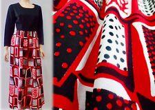 Vintage 70s Lee Morton Mod Hippie Red Polka Dot Maxi Dress S M