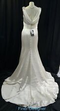 Justine Alexander drape back Wedding Dress bride gown Ivory train trumpet 10 NWT
