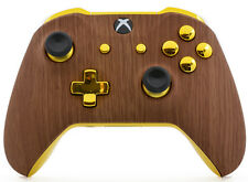 """""""Golden Wood"""" Xbox One S / X Rapid Fire Modded Controller for COD WW2 Destiny 2"""