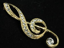2pc Austrian crystal gold music note G clef Brooch pin scarf Musical Symbols D21