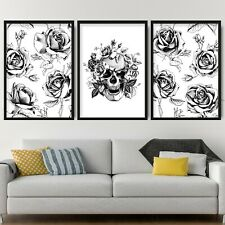 Set of 3 Black & Grey Floral Abstract Rose Skull Wall Art Print Picture Poster