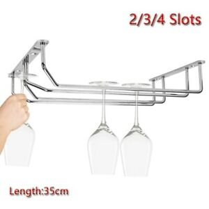 2/3/4 Slots Wine Rack Glass Holder Hanging Bar Hanger Iron Chrome-plated Shelf