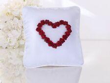 Ringkissen Hochzeit weiß mit rotem Herz 20x20 Cm