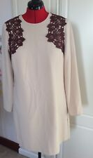 M&S Limited Edition Size 16 Lined Long Sleeved Beige & Brown Lace Shift Dress