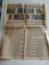 Huge Invasion On; 10 Miles in France (June 6, 1944) Los Angeles Newspaper, D-DAY