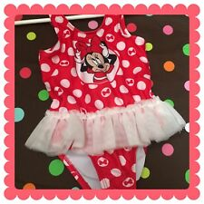 Disney Baby EUC Polka Dot Minnie Mouse Swimsuit, size 18 months