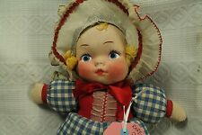 rare vintage old Honey Lou Doll Gund cloth hand painted face 1930s