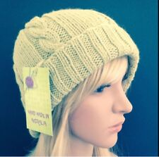 HAND KNITTED  LADIES  SIZE L PISTACHIO ARAN  WOOL-ALPACA  CABLED  PANEL BEANIE