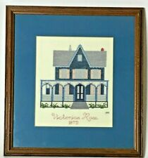 Completed cross stitch embroidery Victorian Rose Cape May NJ home decor 13x14