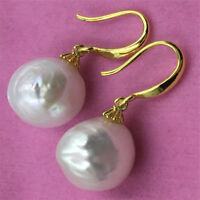South 18K Gorgeous sea HUGE baroque pearl earrings 13-14MM earbob gold plating