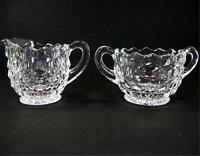 Fostoria American Creamer Cream Pitcher Open Sugar Bowl Set Fire Polished