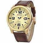 New Military Army Date Sport Brown Leather Strap Men's Analog Quartz Wrist Watch
