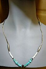 ETHNIC SILVER TONE & TURQUOISE NECKLACE-White Accent Beads-Wire Strung-21 1/2""