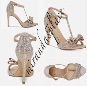 I.N.C Reesie Size 9.5 Rhinestone Champagne Bow Evening Women Dress Sandals Heel