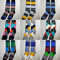Mens Crew Socks 1 Pair Colorful Casual Dress Trouser Fun Gift Striped Argyle Guy