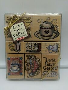 New Hero Arts 1996 Rubber Stamp Set 90s Java Lets Have Coffee Free Shipping