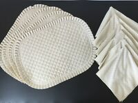 2-Sided Handmade Quilted Placemats and Napkins Set Small Roses Floral Country