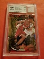 LEBRON JAMES Rookie CARD #15 GRADED BECKETT 10 & GAME USED JERSEY PIECE LAKERS