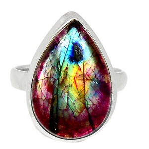 Red Flash Labradorite 925 Sterling Silver Ring Jewelry s.8 BR97062
