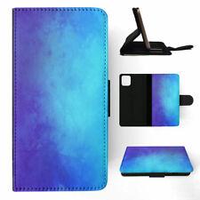 APPLE iPHONE FLIP LEATHER CASE WALLET COVER BLUE PURPLE WATERCOLOR 4
