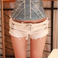 Sexy Women's Low Waist Mini Denim Jean Shorts Distressed Hot Pants Black White