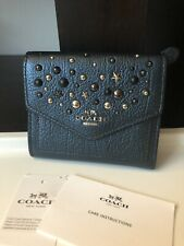 COACH Star Rivets Small Pebbled Leather Wallet METALLIC BLUE NWT!