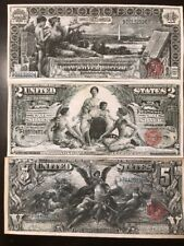 Reproduction Copies 1896 Educational Silver Certificate Set $1 $2 $5 Paper Money