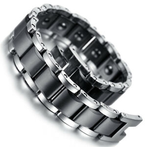 Mens Silver Tungsten Black Ceramic Magnetic Therapy Link Bracelet Arthritis Pain
