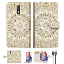 White Aztec Tribal Wallet TPU Case Cover for Motorola Moto G5 Plus A006