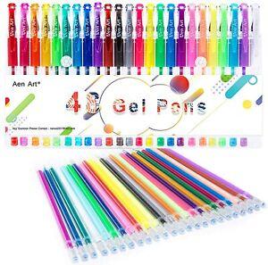 48 Gel Pens Set Colored Glitter For Kids Adult Coloring Books Drawing Art Marker