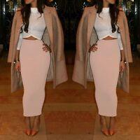 Women Ladies Slim Stretchy Bodycon Mid Length Midi Pencil Office Long Skirt U82