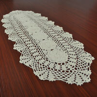 Vintage Hand Crochet Lace Cotton Beige Table Runner Wedding Party 11x35inch Oval