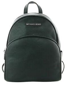 Michael Kors Abbey Medium Backpack Bag Black Leather Silver Tone Metal Womens