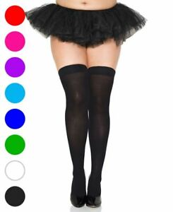 Plus Size Opaque Thigh High Stockings - Music Legs 4745Q