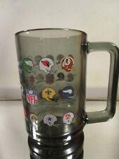 Vintage 1970s Glass NFL Mug Smoke Football Helmets Defunct Beer Stein~