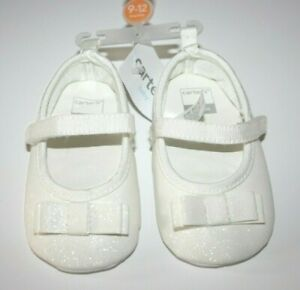 Carter's Mary Jane Crib Shoes White Bow Glitter 9-12 months New NWT