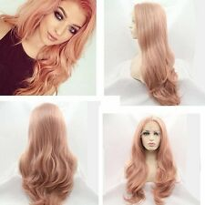 Fashion Heat Resistant Lace Front Wig Synthetic Hair Long Wavy Pink Full Wigs